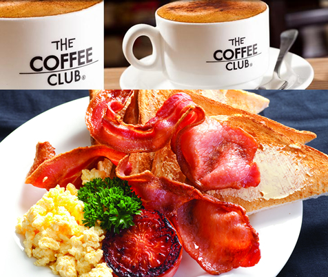 Just $17 for Breakfast for Two at \'The Coffee Club\' including Classic bacon, eggs, tomato & toast and any Standard Hot Drink each.(Normally $38, Discount 55%) BONUS DEAL - Only $10 for 5 x Standard Coffee\'s