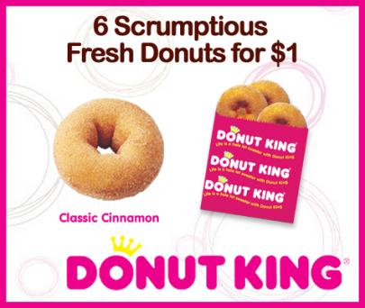 *SPECIAL* Just $1 for 6 Scrumptious Fresh Cinnamon Donuts from Donut King (Normal Value $5 Discount 80%)